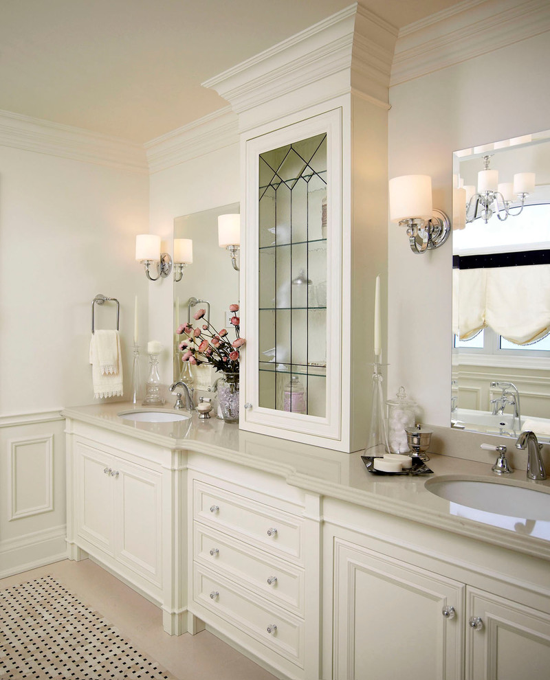 Quoizel Lighting Bathroom Traditional with Beige Countertop Beige Molding Beige Tile Floor Beige Trim Beige Wainscoting Beige