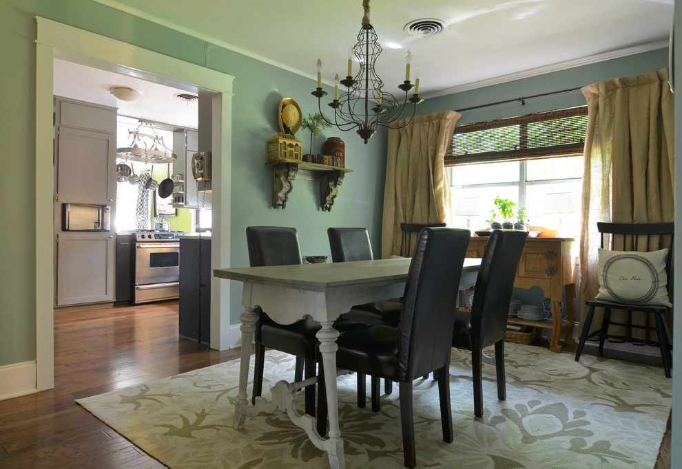 quoizel lighting Dining Room Traditional with area baskets black blue chair chandelier corbels curtains DIY flea market floors