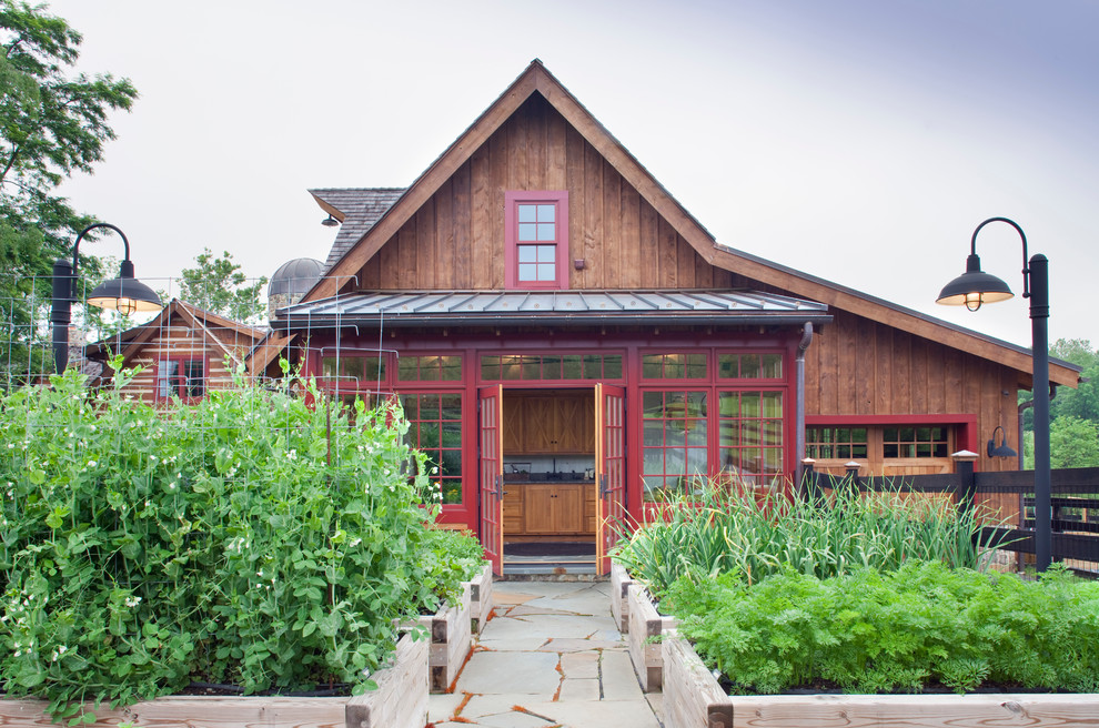 Rachael Ray Pots Garage and Shed Traditional with Barn Flagstone French Doors Garden Lantern Metal Roof Planter Boxes Raised Garden