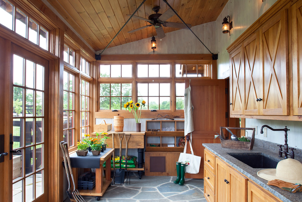 Rachael Ray Pots Garage and Shed Traditional with Ceiling Fan Flagstone Floor French Doors Garden Tools Muntins Potting Room Transom