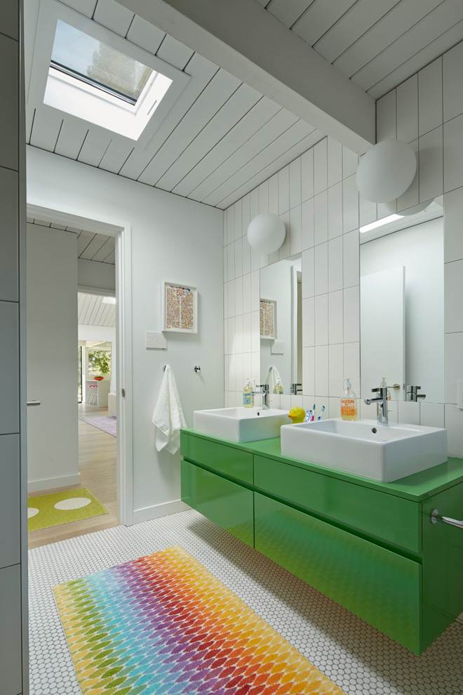 Rainbow Rug Bathroom Midcentury with Beam Bright Colors Colorful Area Rug Double Mirrors Double Sinks Floating Green