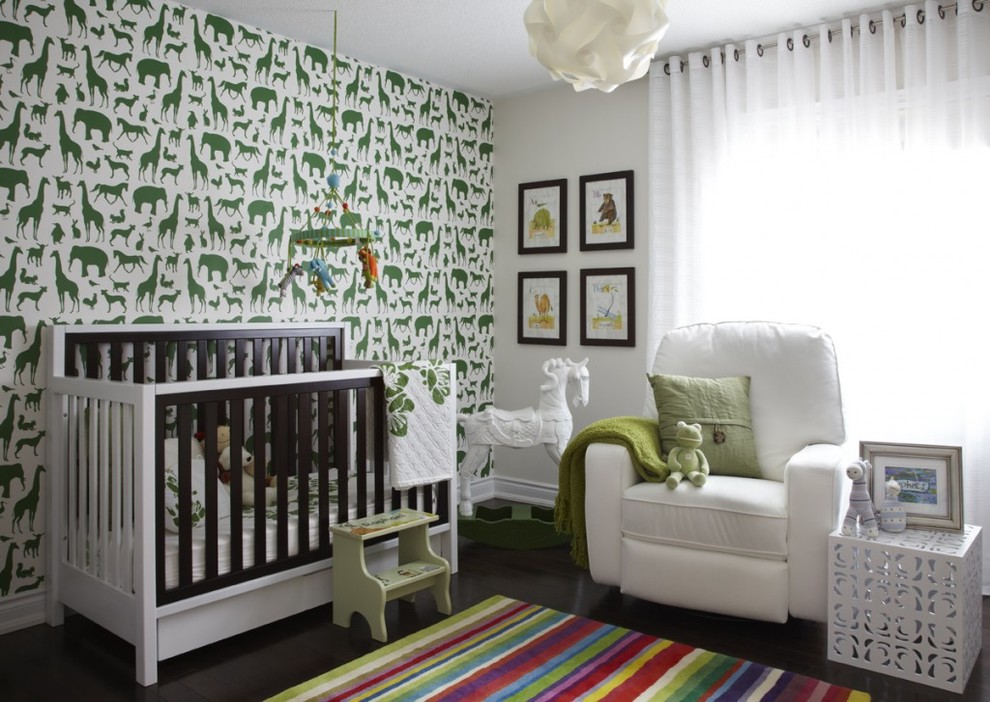 Rainbow Rug Nursery Contemporary with Accent Wall Animal Wallpaper Changing Table Chest of Drawers Crib Curtains Custom