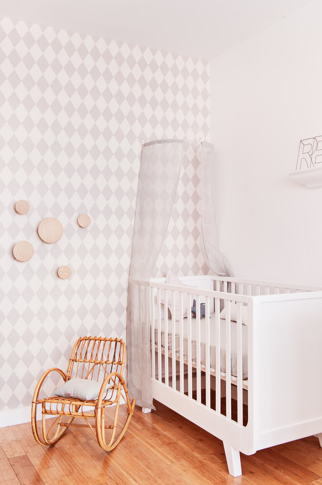 Rattan Chair Nursery Farmhouse with Accent Wall Bois Et Blanc Chambre Ambiance Douce Chambre Bb Chambre Bb