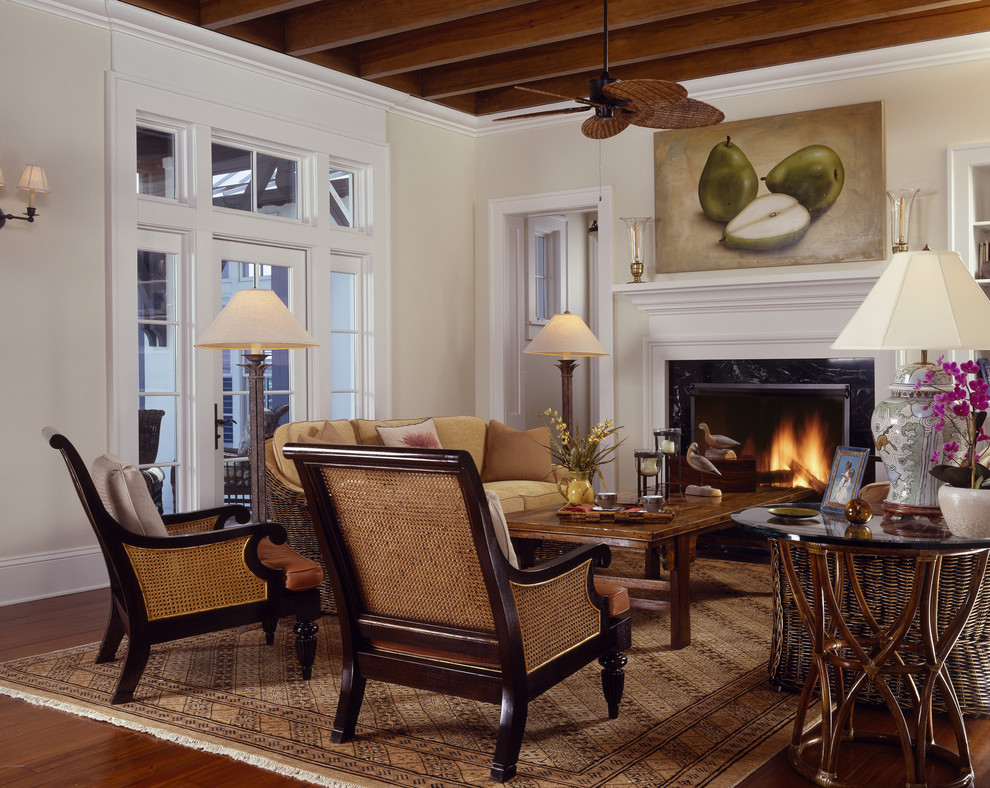 Rattan Chairs Living Room Tropical with Area Rug Art Beams British Colonial Cane Chairs Ceiling Fan Chimney Classic