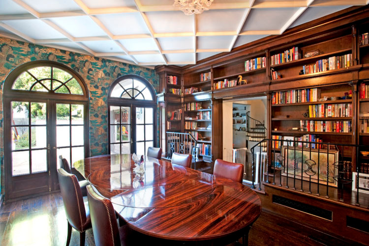 rattan dining chairs Dining Room Traditional with cabinets coffered ceiling kitchen remodel