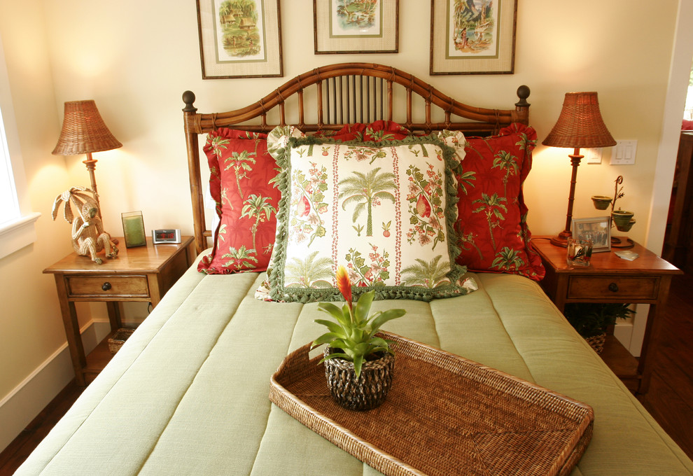 Rattan Headboard Bedroom Tropical with Bamboo Basket Weave Bedside Table Island Night Stands Red Sage Tropical