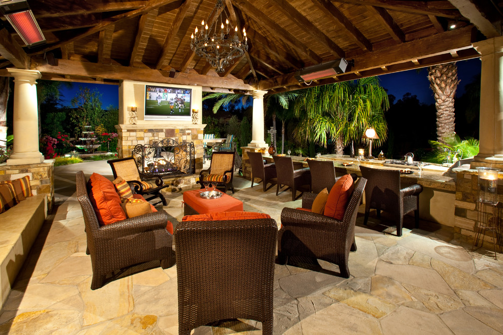 Rattan Patio Furniture Patio Mediterranean with Column Covered Patio Metal Chandelier Orange Outdoor Cushions Outdoor Dining Outdoor Entertaining