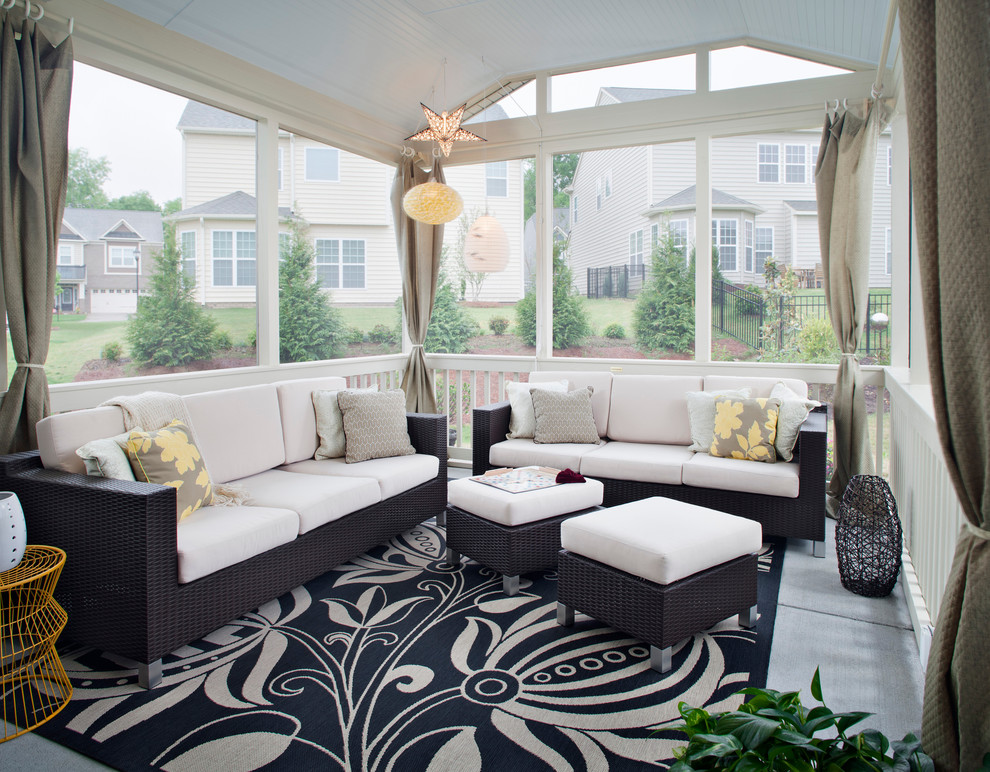 Rattan Patio Furniture Porch Contemporary with Beige Curtains Beige Outdoor Cushion Beige Throw Pillow Black and Beige Rug