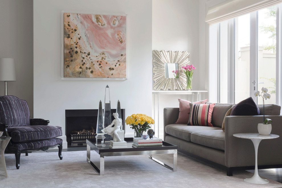Real Flame Gel Fuel Living Room Contemporary with Abstract Painting Accessories Acrylic Obelisk Bergre Chair Bespoke Black Black White Books
