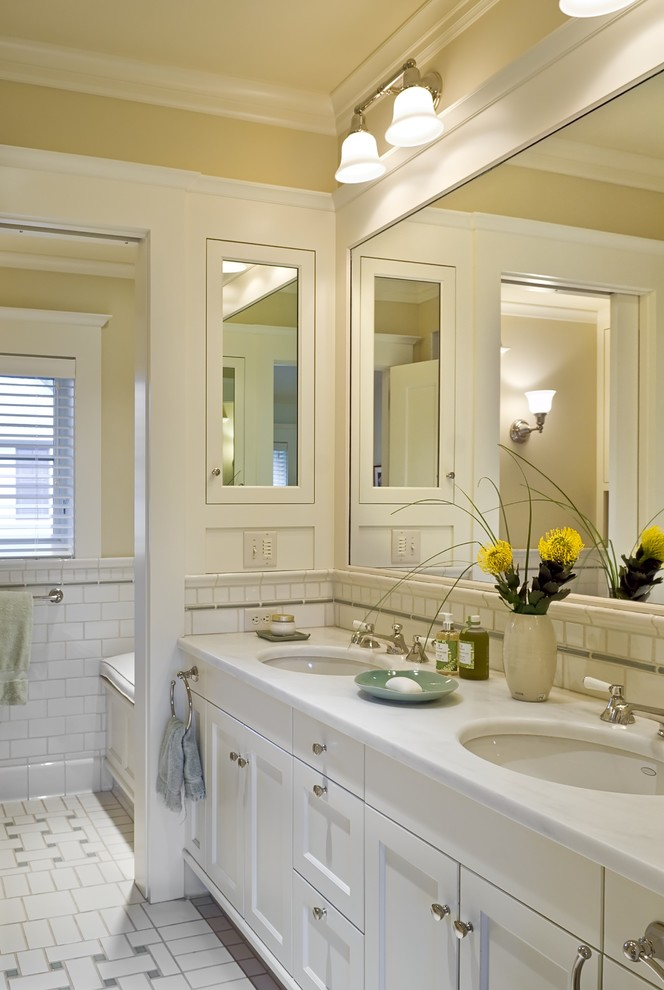 Recessed Medicine Cabinet Bathroom Victorian with Basket Weave Pattern Crown Molding Double Sinks Double Vanity Medicine Cabinets Sconce
