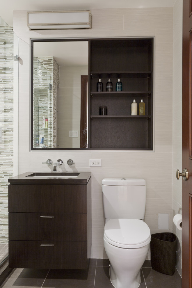 Recessed Medicine Cabinets Bathroom Contemporary with Dark Stained Wood Floating Vanity Glass Shower Enclosure Medicine Cabinet Mirror Single