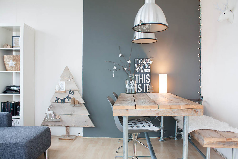 Reclaimed Wood Bench Dining Room Scandinavian with Black and White Christmas Decor Dining Lighting Driftwood Driftwood Christmas Tree Driftwood