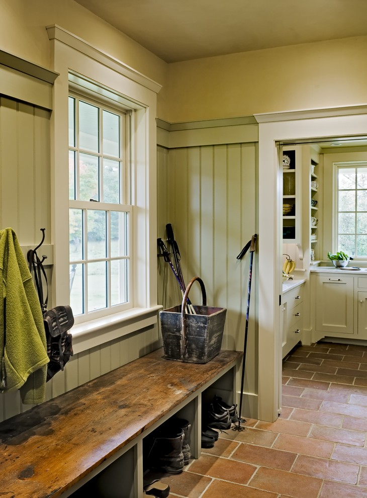 Reclaimed Wood Bench Entry Traditional with Country Door Casing Entry Bench Mudroom Shoe Storage Storage Cubbies Terra Cotta Tile