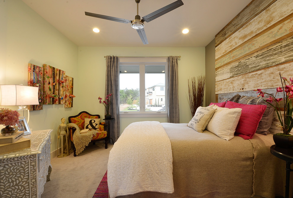 Reclaimed Wood Headboard Bedroom Contemporary with Beige Bedding Beige Throw Pillow Brown Throw Pillow Carpet Ceiling Fan Curtains