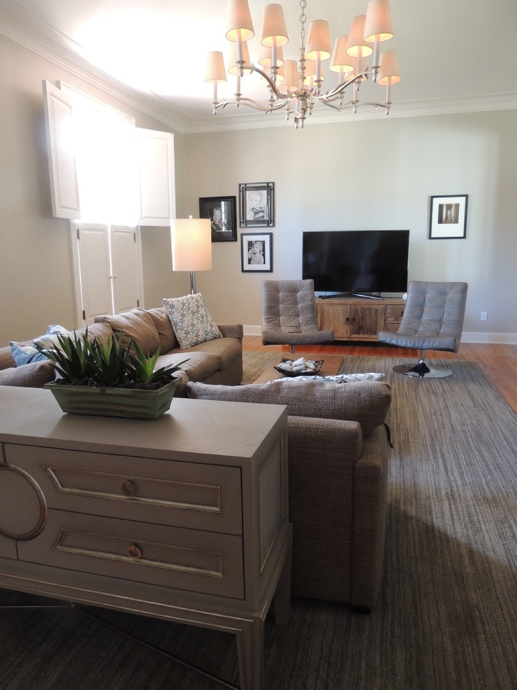 Reclaimed Wood Tv Stand Spaces Transitional with Chandelier Chest Leather Swivel Chairs Lighting Reclaimed Wood Tv Stand Rug Sectional