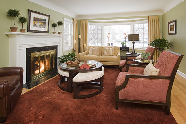 Recliner Loveseat Living Room Traditional with Accessories Art Chair Chicago Cook County Curtains Custom Draperies Drapes Fireplace Green