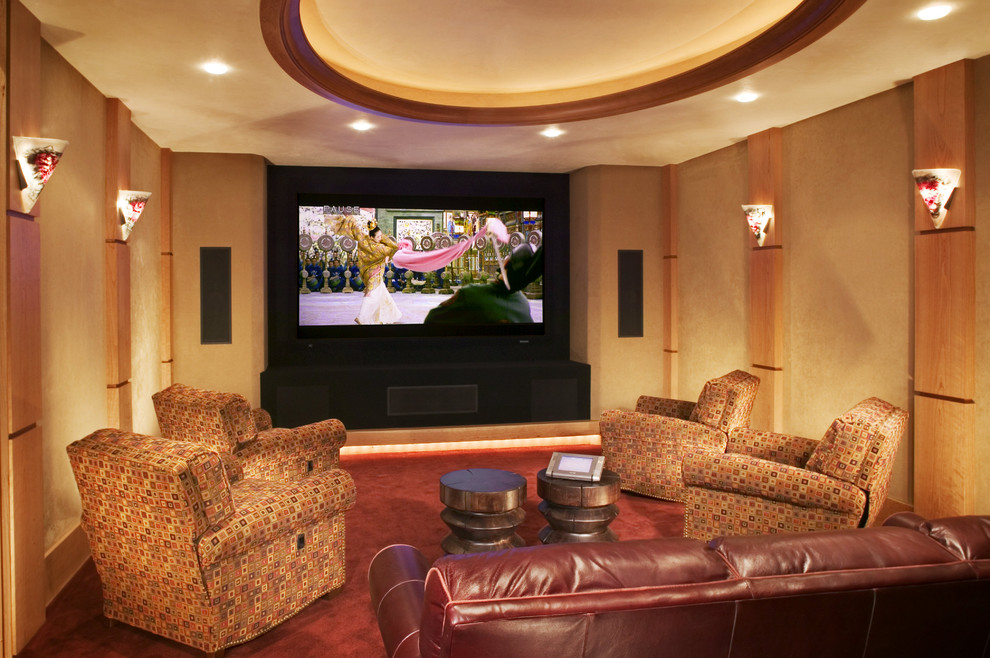 Recliner Sofa Home Theater Rustic with Art Glass Sconce Ceiling Lighting Contemporary Sconce Earth Tone Colors Faux Finish