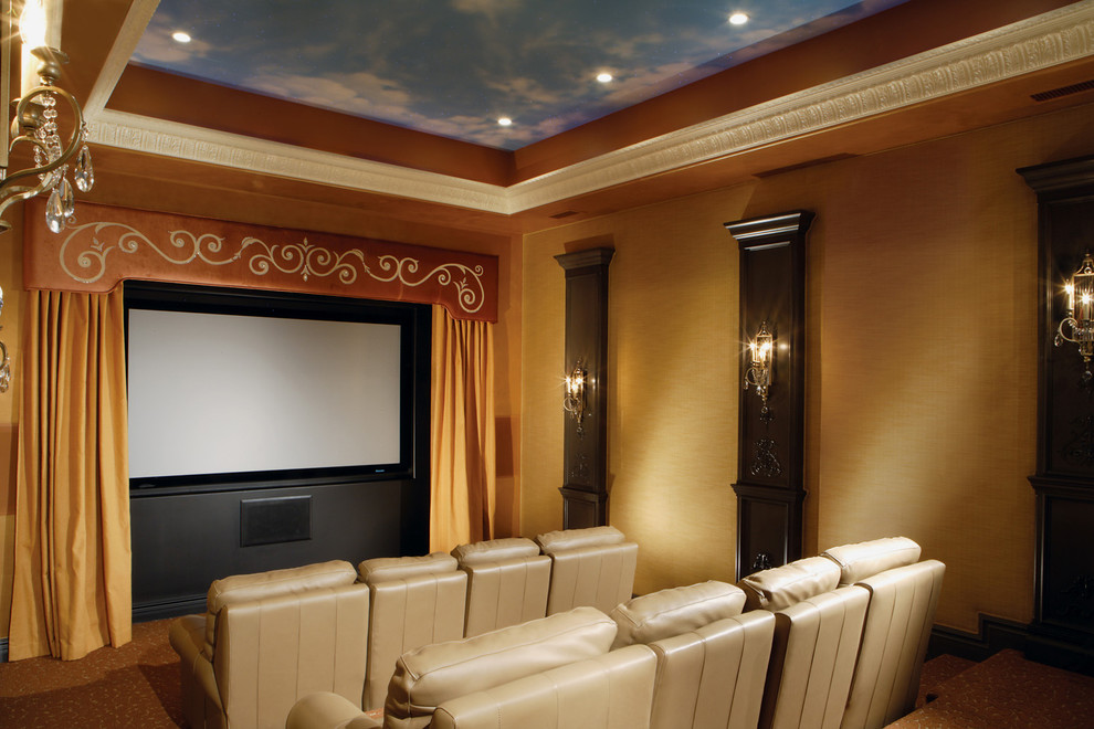 Recliner Sofa Home Theater Transitional with Antique Mirror Beautiful Big Screen Candle Chandelier Carpet Pattern Chic Classic Design