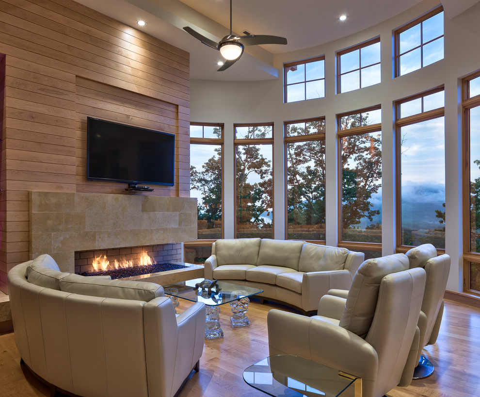 recliner sofa Living Room Contemporary with alder beige sofa ceiling fan CEILING LIGHT clerestory windows curved wall Fireplace