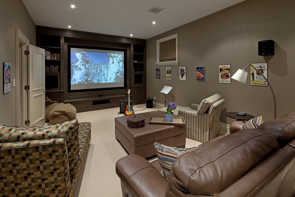 Reclining Couch Home Theater Traditional with Beige Bean Bags Brown Leather Ottoman Brown Leather Sofa Brown Wall Built In