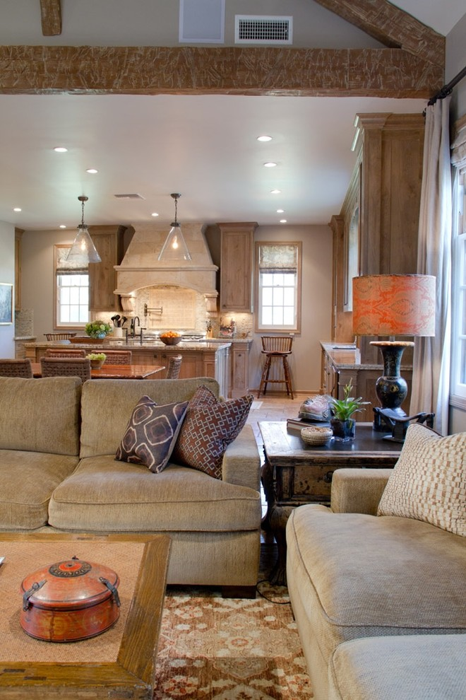 Reclining Couch Living Room Traditional with Area Rug Chenille Sofa Decorative Pillows Exposed Beams Great Room Neutral Colors
