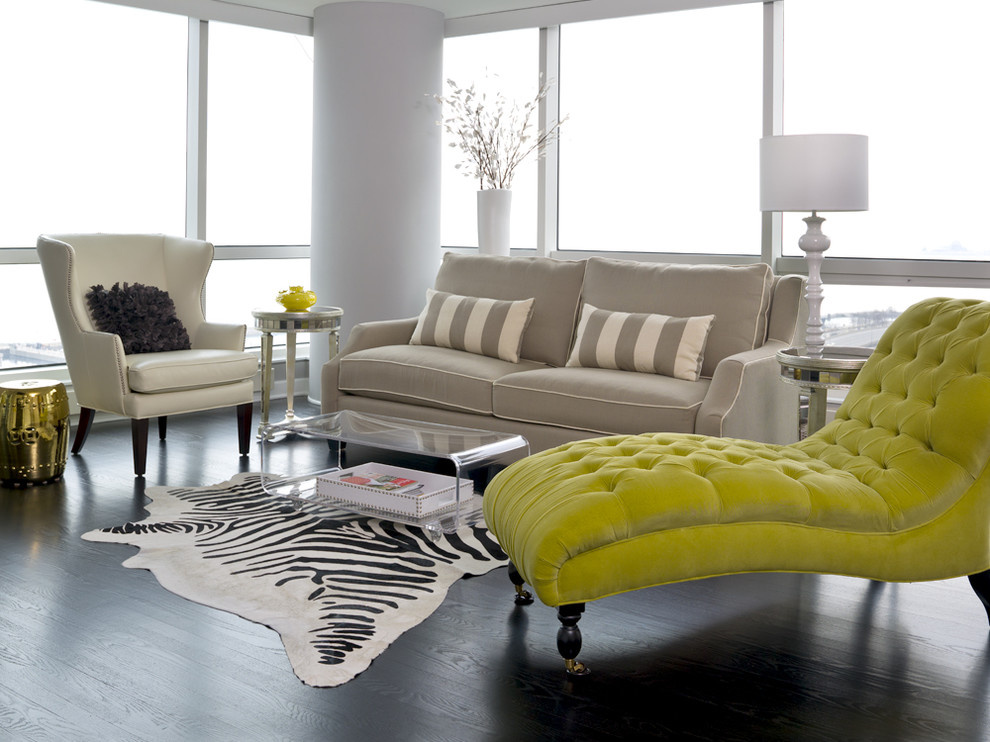 Reclining Loveseat with Console Living Room Transitional with Chaise Longue Contemporary Dark Hardwood Floor Gold Chinese Garden Stool Gray Sofa