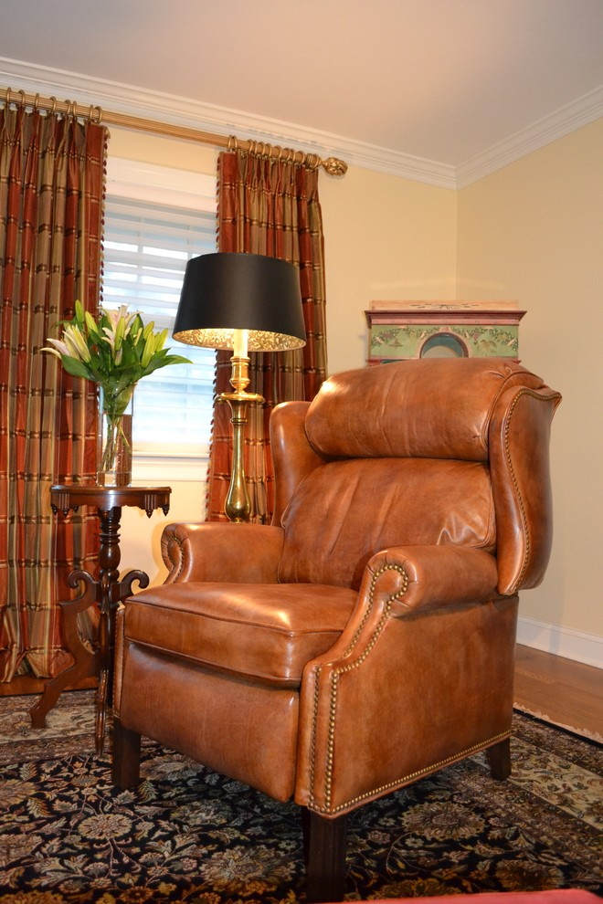 Reclining Loveseats Family Room Traditional with Area Rug Carved Wood Chair Casual Elegance Custom Framed Artwork Custom Wood