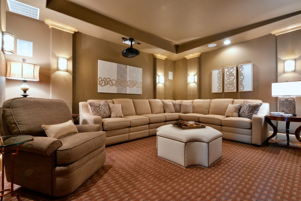 Reclining Sectional Home Theater Traditional with Bright Media Room Cheerful Media Room Contemporary Artwork Custom Art Work Dallas