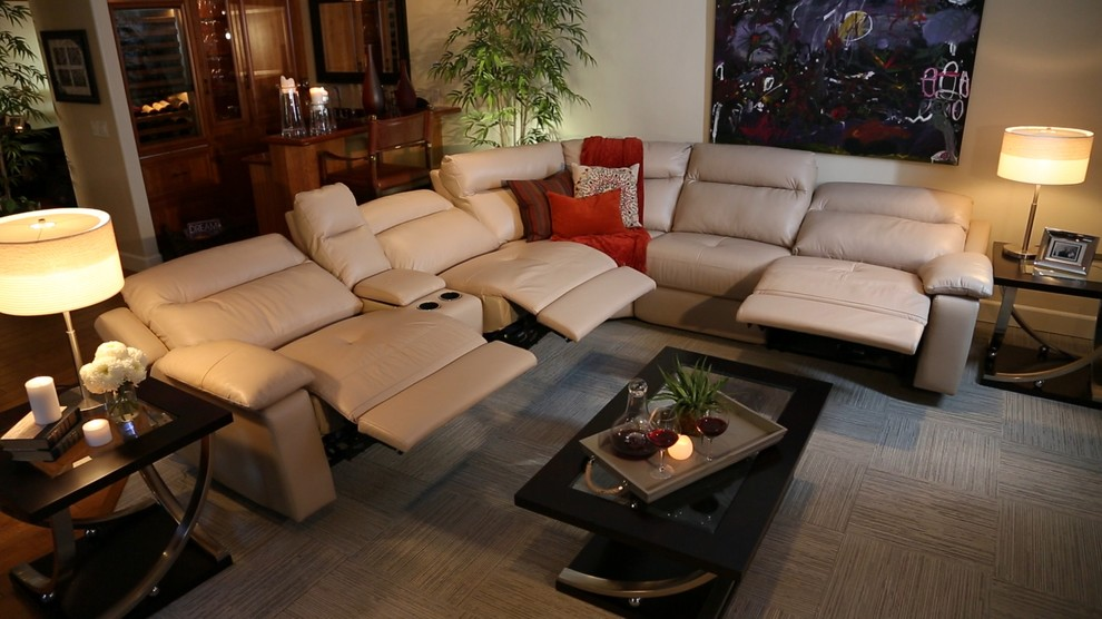 reclining-sectional-Living-Room-Transitional-with-braided-rug ...