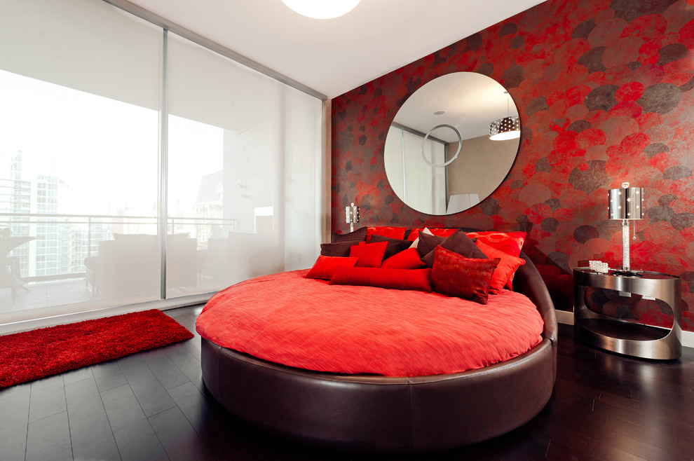 Red Shag Rug Bedroom Contemporary with Bed Brown Leather Bed Circle Bed Contemporary Dark Wood Floor Downtown Floor to Ceiling