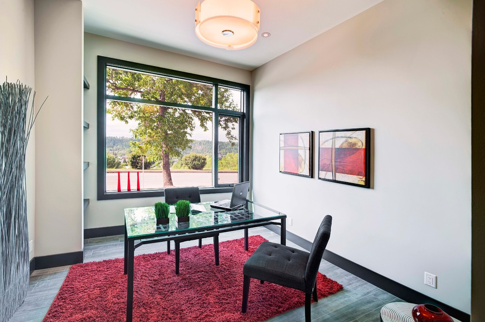 Red Shag Rug Home Office Contemporary with Beige Walls Black Baseboard Black Trim Drum Shade Glass Top Desk Red