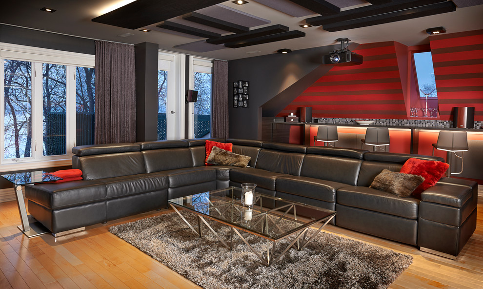 Red Shag Rug Home Theater Contemporary with Acousitc Panels Bar Coffee Table Counter Stools Custom Home Theater Led Lighting
