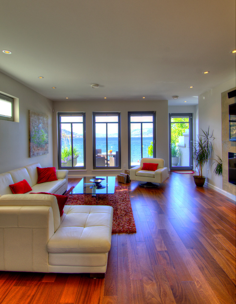 red shag rug Living Room Modern with beige armchair beige chaise lounge beige sectional beige sofa glass door leather