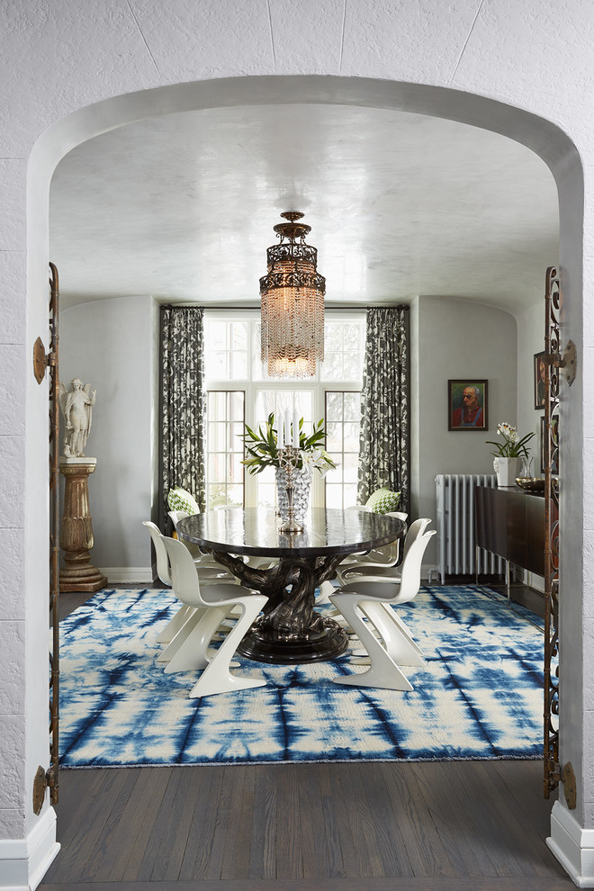 Reebok Elliptical Dining Room Contemporary with Arched Doorway Art Collection Blue and White Rug Collected Colorful Custom Made