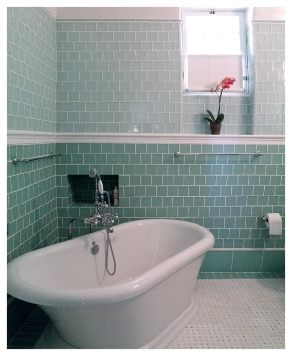 Reed and Barton Flatware Bathroom Traditional with Airbath Ann Sacks Basket Weave Marble Tile Floor with Ming Green Dots