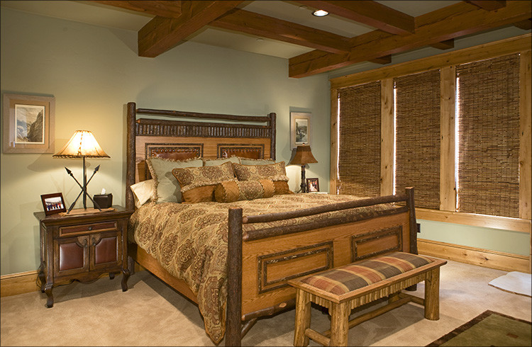 reed and barton flatware Bedroom Rustic with cabin Hunter Douglas reed shades lodge mountain Old Hickory bed rustic rustic