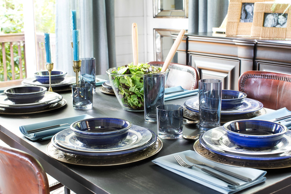Reed and Barton Flatware Dining Room Eclectic with Brian Patrick Flynn Dining Room Formal Dining Mountain Mountain Home Tablescape