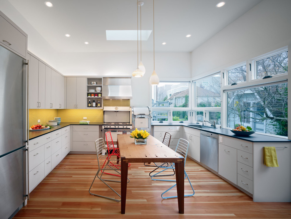 Reliance Transfer Switch Kitchen Contemporary with Ceiling Lighting Colorful Accents Douglas Fir Eat in Kitchen Glass Tile Italianate