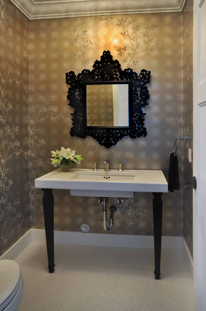 reliance transfer switch Powder Room Victorian with baseboards bathroom mirror bathroom tile decorative mirror floor tile floral wallpaper mosaic