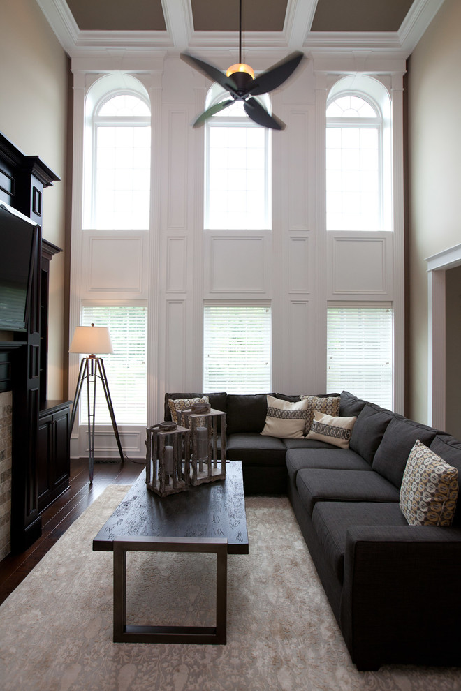 Remote Control Ceiling Fans Living Room Traditional With 2 Story Great Room  2 Story Living Room