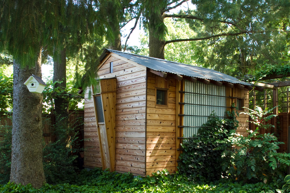 Resin Sheds Garage and Shed Contemporary with Backyard Shed Bird House Cedar Copper Corrugated Metal Roof Corrugated Siding Gable