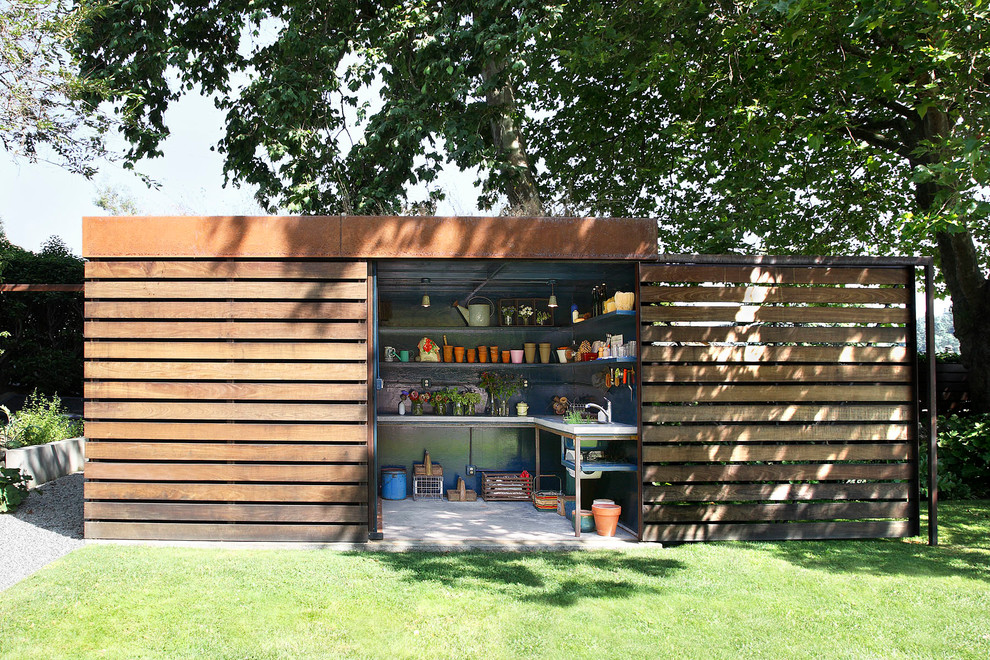 Resin Sheds Garage and Shed Contemporary with Boxy Built in Shelves Flat Roof Garden Shed Garden Tools Grass Lawn