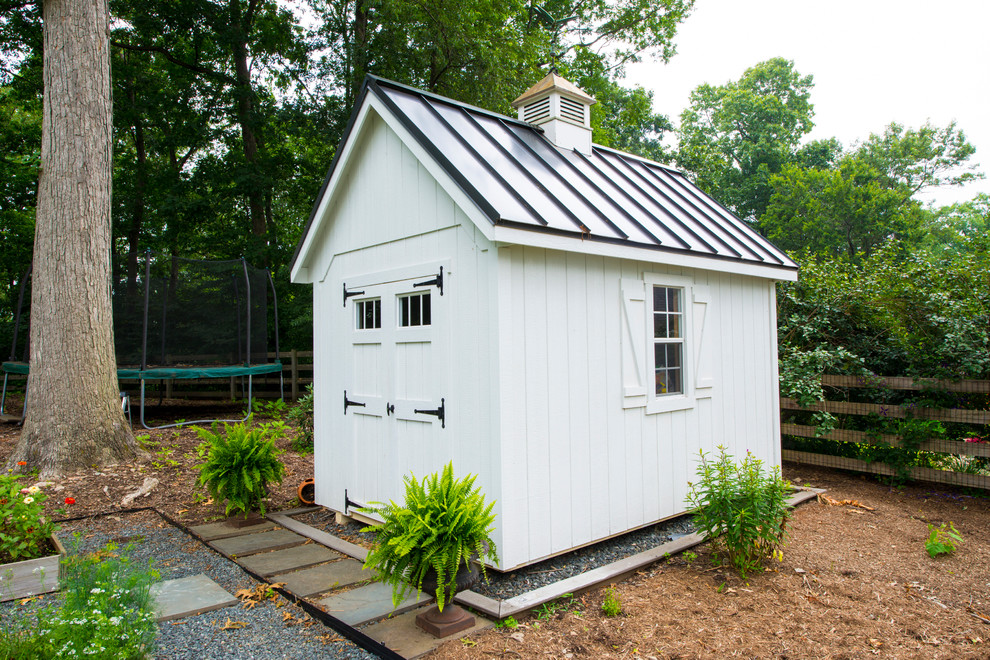 Resin Sheds Garage and Shed Traditional with Backyard Carriage Doors Ferns Metal Roof Standing Seam Roof Storage Shed Window