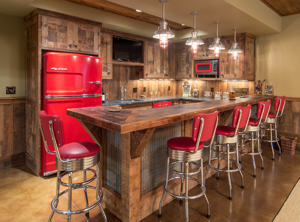 Retro Bar Stools Kitchen Rustic with Barn Board Barnwood Beadboard Knotty Alder Red Accents Red Refrigerator Rustic