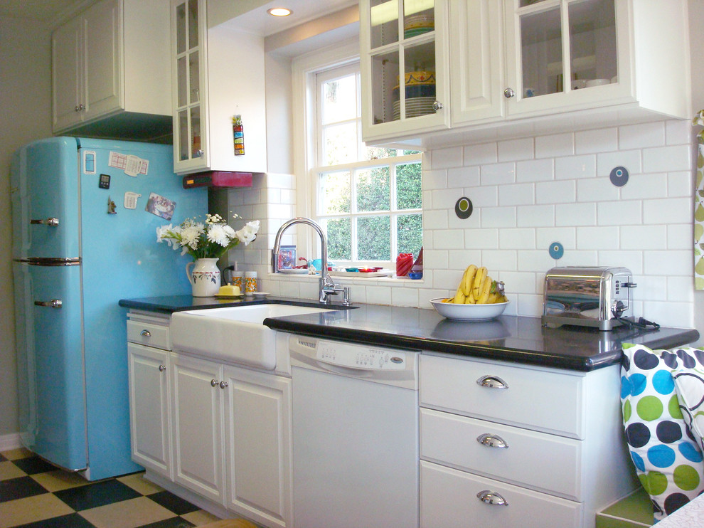 Retro Refrigerators Kitchen Eclectic with Backsplash Bin Pulls Black Countertop Blue Bridge Faucet Bright Cabinets Circle Tile