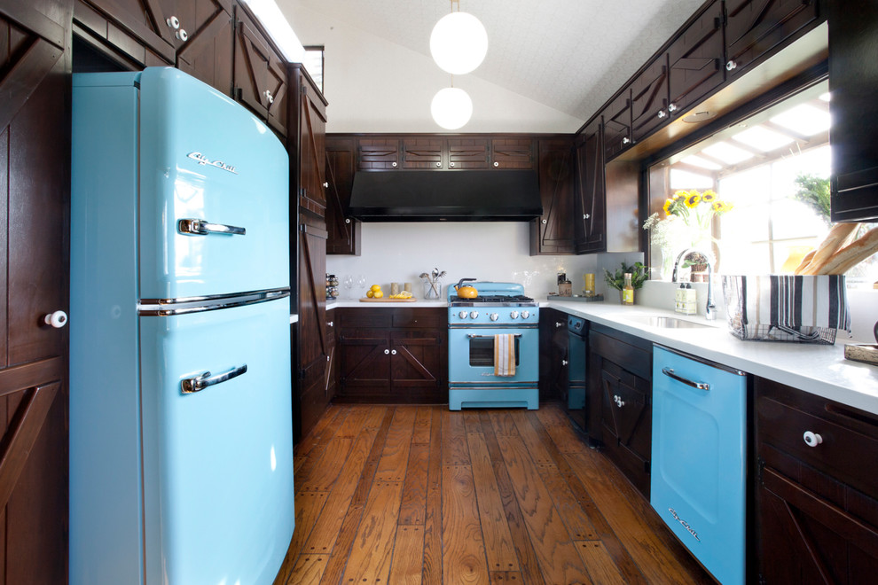 retro refrigerators Kitchen Rustic with blue appliances dark brown cabinets galley kitchen globe pendant hardwood floor ledge