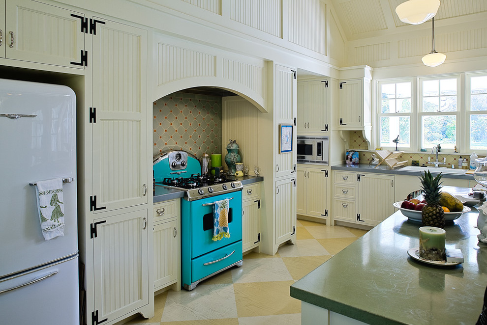 Retro Refrigerators Kitchen Victorian with Beadboard Cabinet Cabinets Diamond Pattern Floor Island Kitchen Retro Refrigerator Schoolhouse Pendant