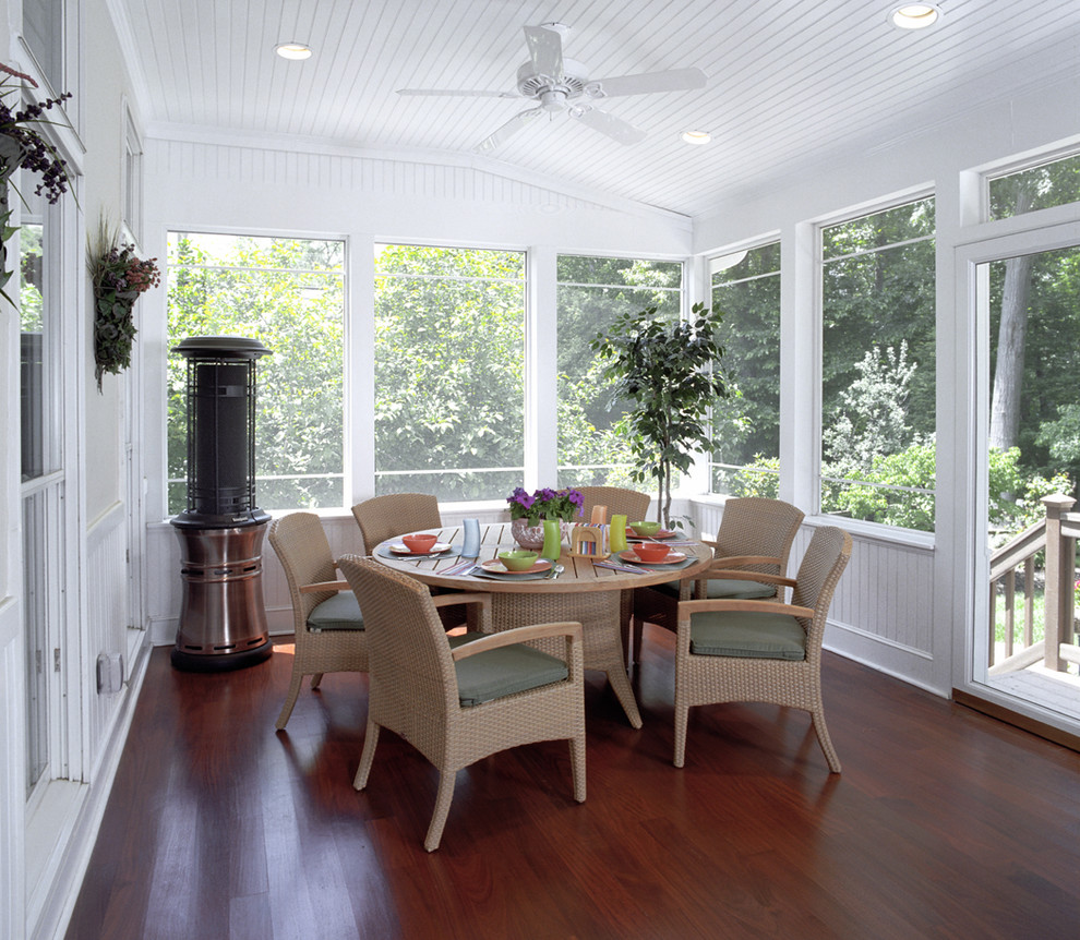 Rheem Electric Water Heater Porch Traditional with Beadboard Beadboard Ceiling Ceiling Fan Ceiling Lighting Mahogany Floors Patio Furniture Patio