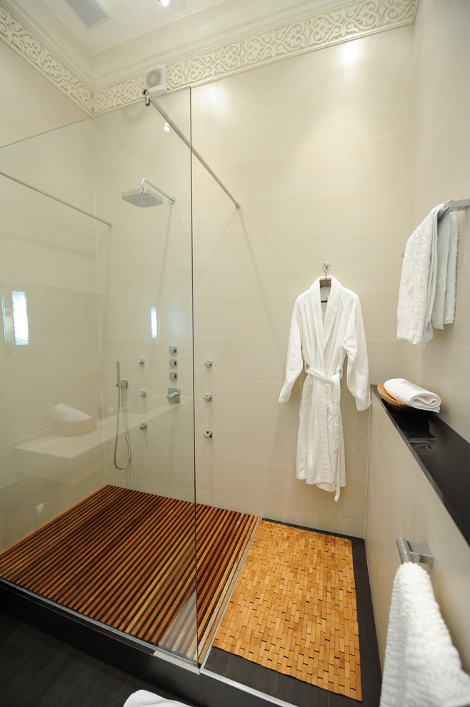 Robe Hooks Bathroom Contemporary with Bath Mat Crown Molding Dark Floor Decking Glass Shower Enclosure Ledge Minimal