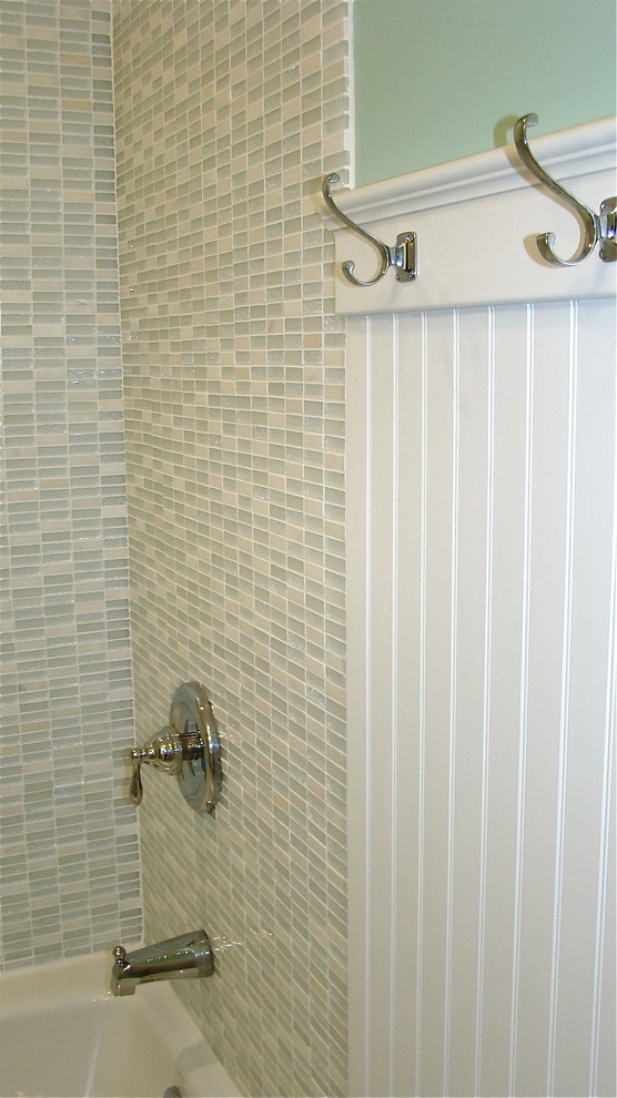 Robe Hooks Bathroom Traditional with Beadboard Glass Tile White Bathroom
